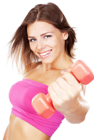 dumbells: Beautiful slim woman with dumbbells, isolated on white background Stock Photo