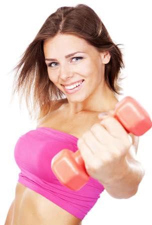levantar pesas: Hermosa mujer delgada con pesas, aislado en fondo blanco Foto de archivo