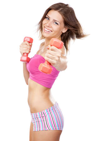 fit girl: Beautiful slim woman with dumbbells, isolated on white background Stock Photo