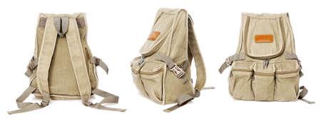 Military style backpack isolated on white background photo