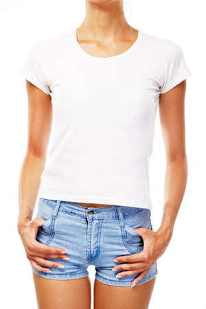 Young woman in blank white t-shirt, isolated on white background Stock Photo
