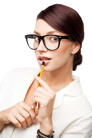nerd girl: Strict woman in large glasses, isolated on white background