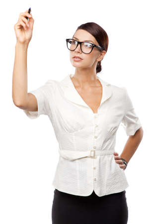 Strict woman in large glasses, isolated on white background Stock Photo - 15489664