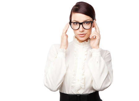 Strict woman in large glasses, isolated on white background Stock Photo - 15489659