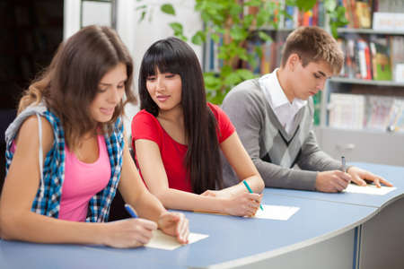 Group of students sitting in a classroom photo