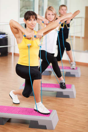 step fitness: Group training in a gym of a fitness center Stock Photo
