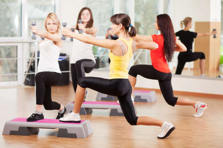aerobic training: Group training in a gym of a fitness center Stock Photo
