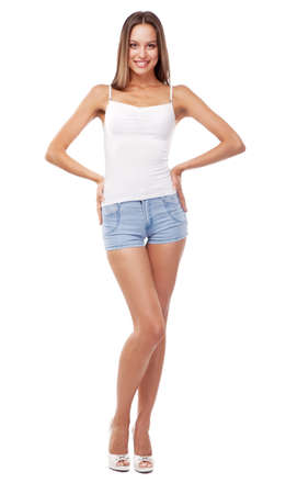 top: Beautiful slim woman in a t-shirt, isolated on white background