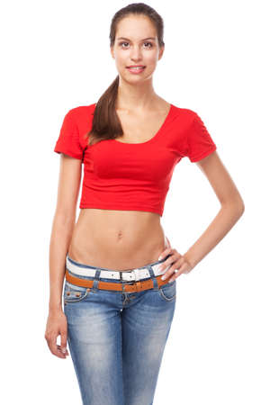 Beautiful slim woman in a t-shirt, isolated on white background photo