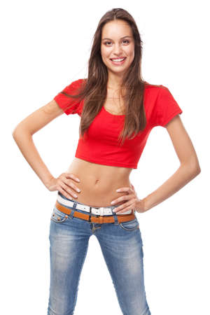 Beautiful slim woman in a t-shirt, isolated on white background