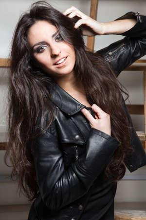 Rock style beautiful young woman photo