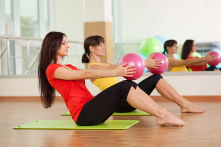 aerobic exercise: Group training in a gym of a fitness center Stock Photo