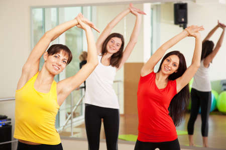 fitness equipment: Group training in a gym of a fitness center Stock Photo