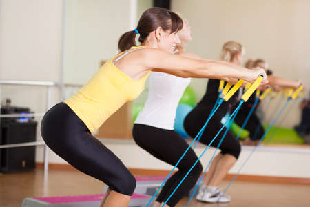 aerobics class: Group training in a fitness class