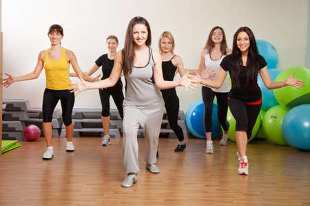 zumba: Group training in a gym of a fitness center Stock Photo