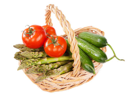 home grown: Basket of home grown vegetables, isolated on white background Stock Photo