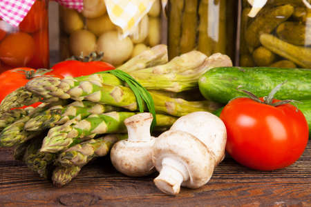 Fresh vegetables on a wooden table photo