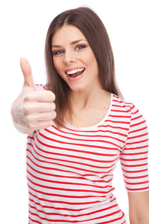 thumbs up woman: Young beautiful woman showing thumbs up