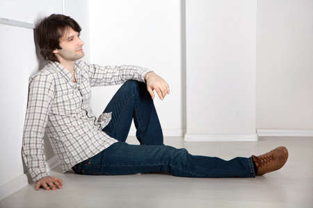 Handsome young man studio portrait photo