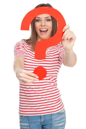 Beautiful casual lady holding a question mark