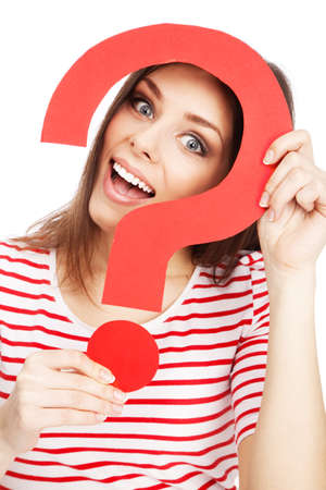 Beautiful casual lady holding a question mark Stock Photo - 19000226