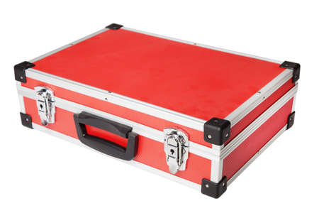 Red briefcase on white background photo