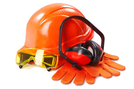 protective work wear: Industrial protective wear on white background Stock Photo