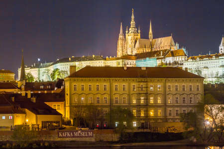Night Prague cityscape photo