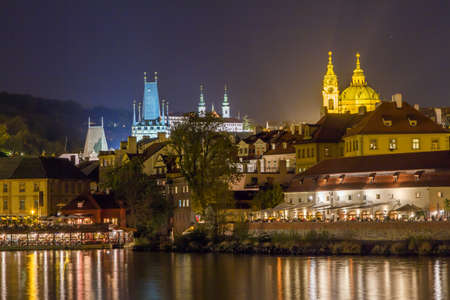 Night Prague cityscape