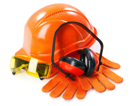 head protection: Industrial protective wear on white background Stock Photo