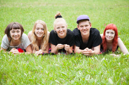 Cheerful group of students outdoors photo