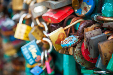 Lots of locks on a bridge Stock Photo