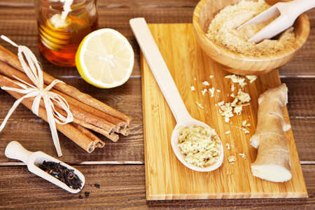 Ginger tea ingredients on a wooden table Stock Photo - 23247566