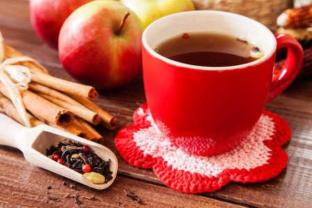 spiced: Spiced tea with cinnamon and apples Stock Photo