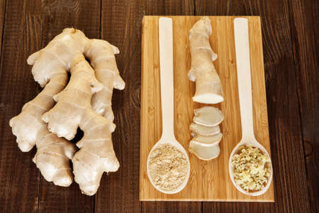 Fresh, ground and grated ginger root photo
