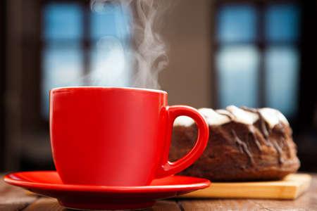 rum cake: Hot tea with rum cake still life