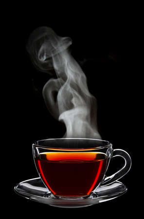 Cup of black tea isolated on black Stock Photo - 23824801