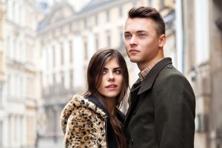 Young beautiful couple in the city photo