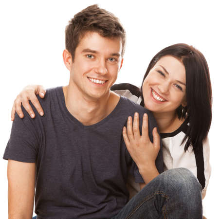 Young beautiful couple, isolated on white background photo