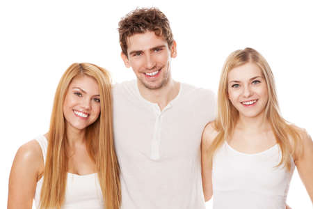 Three young people on white background
