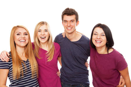 Cheerful young group isolated on white background photo