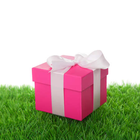 Gift box on green grass photo