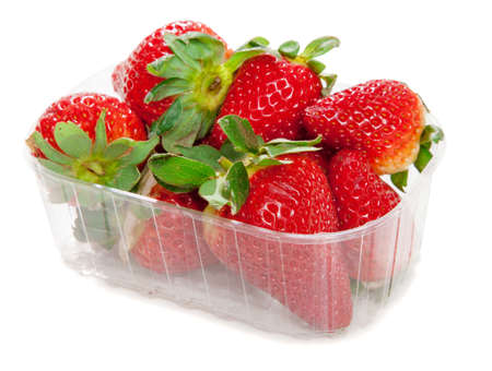 Fresh strawberries isolated on white background photo