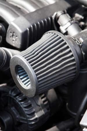 Supercharged sportcar engine - under the hood Stock Photo