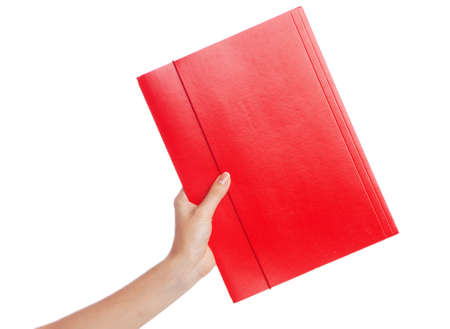 Hand holding a document folder, white background