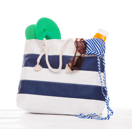 accesories: Large summer bag isolated on white background