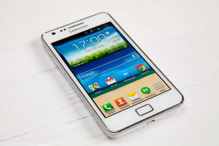 WROCLAW, POLAND - AUGUST 26, 2014: Photo of a Samsung Galaxy S2 Android smartphone