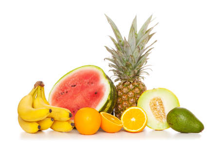 Tropical fruits isolated on white background photo