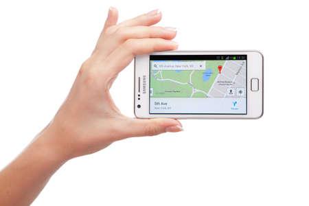 WROCLAW, Polen - 26 augustus 2014: Foto van een Samsung Galaxy S2 Android smartphone