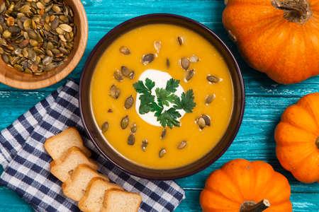 Delicious pumpkin cream soup photo